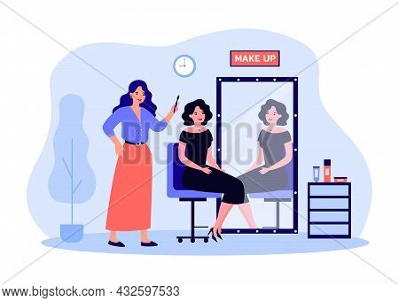 Female Cartoon Celebrity Sitting In Makeup Artist Chair. Beautiful Actress In Dress In Front Of Retr