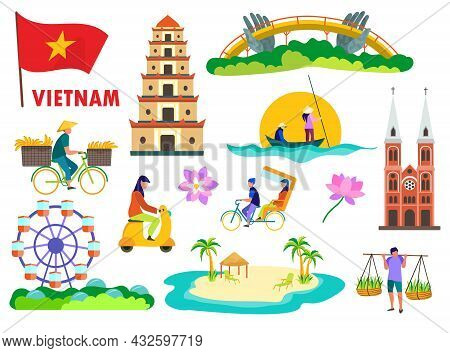 People And Symbols Of Vietnam Vector Illustrations Set. Asean Country, Golden Bridge In Da Nang City