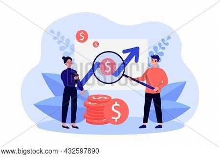 Young Cartoon Man And Woman Examining Finance Statistics. Flat Vector Illustration. Market Research,