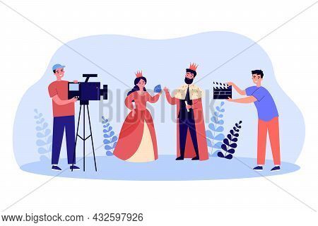 Cartoon Film Crew Shooting Movie About King And Queen. Actor And Actress In Royal Clothes Flat Vecto