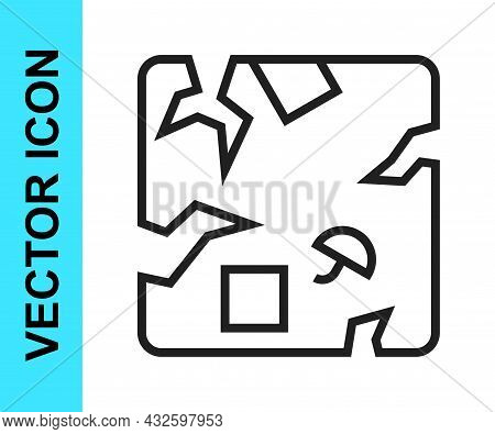 Black Line Broken Cardboard Box Icon Isolated On White Background. Box, Package, Parcel Sign. Delive
