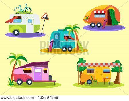 Vintage Camper Vans Flat Vector Illustrations Set. Different Caravans, Trailers Or Rvs For Family Ho