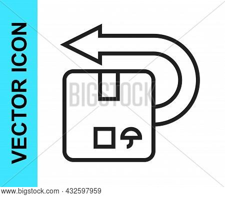 Black Line Return Cardboard Box Icon Isolated On White Background. Box, Package, Parcel Sign. Delive