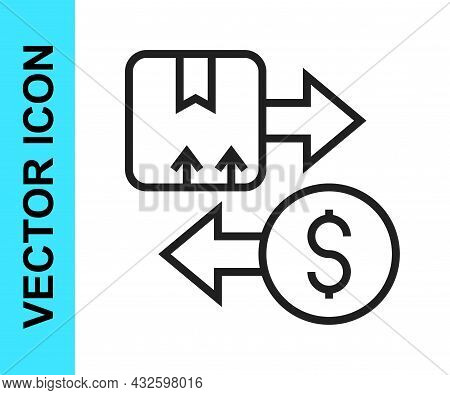 Black Line Tax Carton Cardboard Box Icon Isolated On White Background. Box, Package, Parcel Sign. De