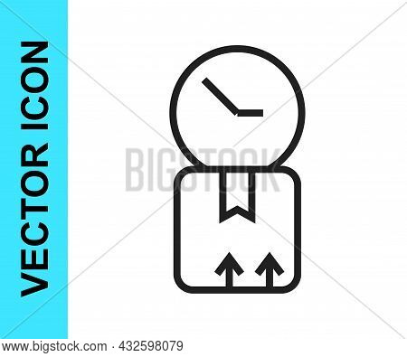 Black Line Carton Cardboard Box And Fast Time Delivery Icon Isolated On White Background. Box, Packa