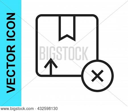 Black Line Carton Cardboard Box Icon Isolated On White Background. Box, Package, Parcel Sign. Delive