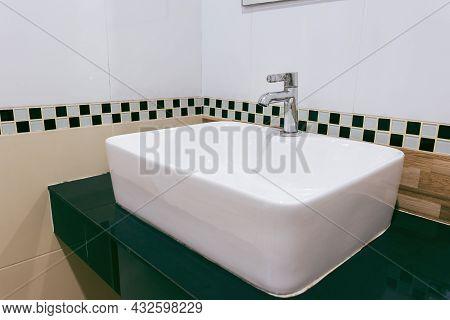 Interior Of Bathroom With Sink Basin Faucet. Modern Design Of Bathroom.