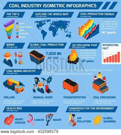 Coal Industry Isometric Infographics Set With Minerals Extraction Symbols And Charts Vector Illustra