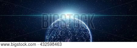 Earth Cryptocurrency And Blockchain And Iot.communication Technology For Internet Business. Global N