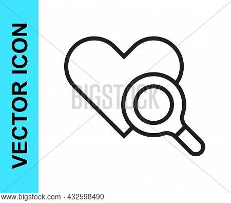 Black Line Medical Heart Inspection Icon Isolated On White Background. Heart Magnifier Search. Vecto