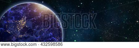 Global World Network And Telecommunication On Earth , Technology For Internet Business.elements Of T