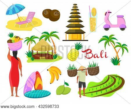 People And Symbols Of Bali Vector Illustrations Set. Drawings Of Indonesian Island, Balinese Spiritu
