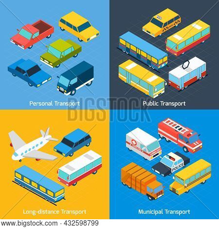 Transport Design Concept Set With Public Personal Long-distance And Municipal Isometric Icons Set Is
