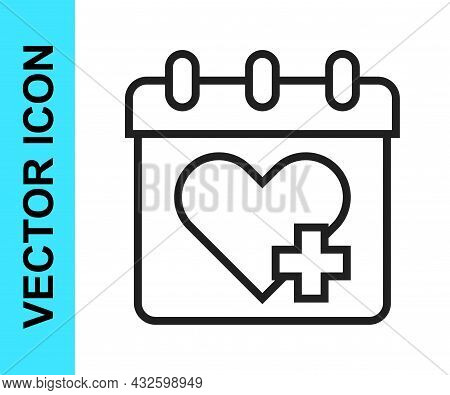 Black Line Doctor Appointment Icon Isolated On White Background. Calendar, Planning Board, Agenda, C
