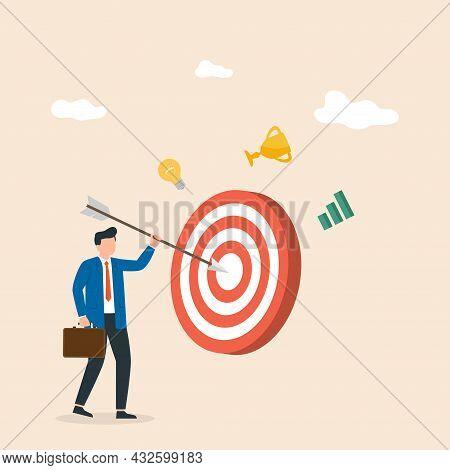 Businessman Sticks An Arrow At A Big Target. Goal Achievement. Man Hit The Target Exactly. Vector Il