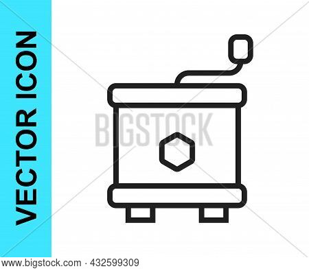 Black Line Honey Extractor Icon Isolated On White Background. Mechanical Device For Honey Extraction