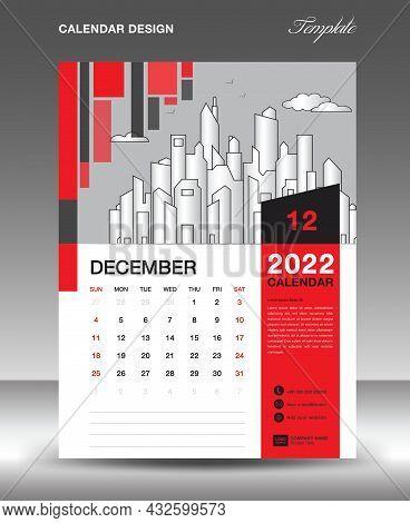 Calendar 2022 Design Template, December Layout, Calendar Date, Desk Calendar Template, Wall Calendar