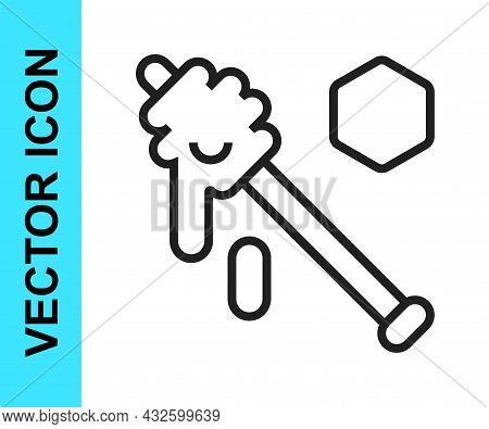 Black Line Honey Dipper Stick Icon Isolated On White Background. Honey Ladle. Vector
