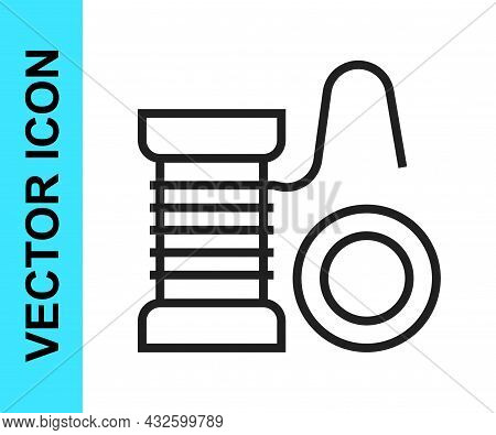 Black Line Spinning Reel For Fishing Icon Isolated On White Background. Fishing Coil. Fishing Tackle