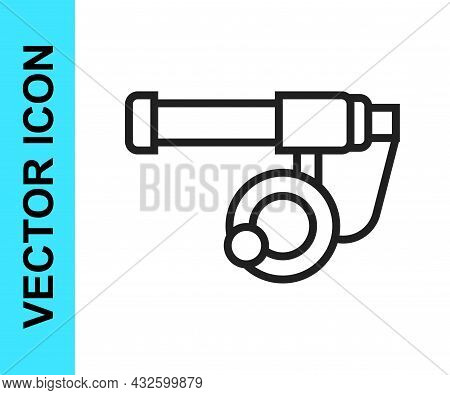 Black Line Fishing Rod Icon Isolated On White Background. Catch A Big Fish. Fishing Equipment And Fi
