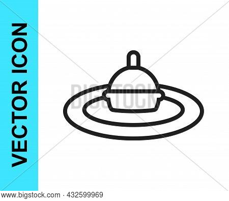 Black Line Fishing Float In Water Icon Isolated On White Background. Fishing Tackle. Vector