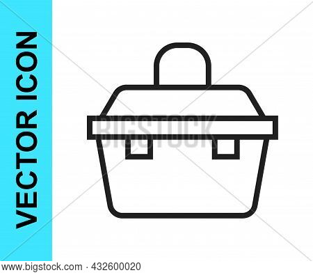 Black Line Case Or Box Container For Wobbler And Gear Fishing Equipment Icon Isolated On White Backg