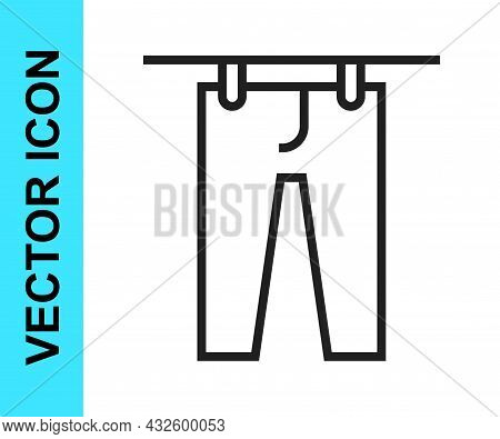 Black Line Drying Clothes Icon Isolated On White Background. Clean Pants. Wash Clothes On A Rope Wit