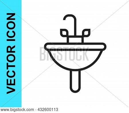 Black Line Washbasin With Water Tap Icon Isolated On White Background. Vector