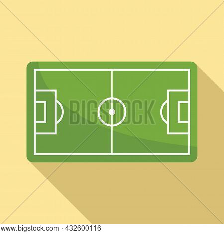 Football Field Icon Flat Vector. Soccer Pitch. Top Stadium