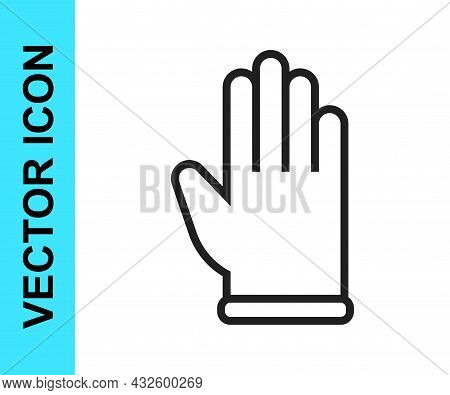 Black Line Rubber Gloves Icon Isolated On White Background. Latex Hand Protection Sign. Housework Cl