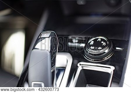 Round Console For Controlling Drive Modes In A Modern Premium Suv Car. Close-up, Selective Focus, No