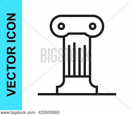 Black Line Law Pillar Icon Isolated On White Background. Ancient Column. Vector