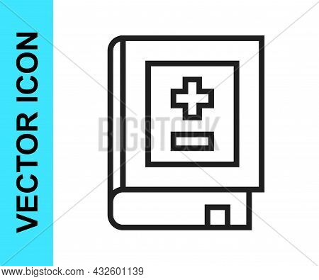 Black Line Book With Mathematics Icon Isolated On White Background. Math Book. Education Concept Abo