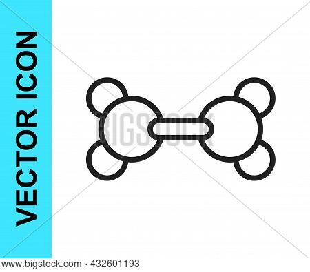 Black Line Molecule Icon Isolated On White Background. Structure Of Molecules In Chemistry, Science