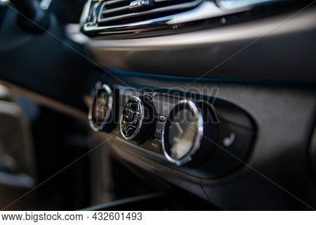 Multimedia Control Console And Climate In A Modern Premium Car. Close-up, Selective Focus, No People