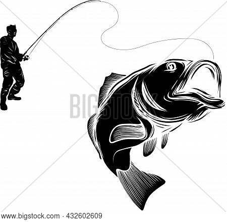 Vector Illustratio Of Silhouette Fisherman Catching Fish