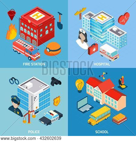 Municipal Buildings Design Concept Set With Fire Station Hospital Police And School Isometric Icons