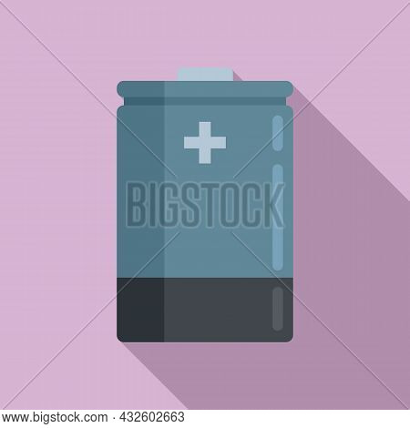 Lithium Battery Icon Flat Vector. Full Energy. Electric Life