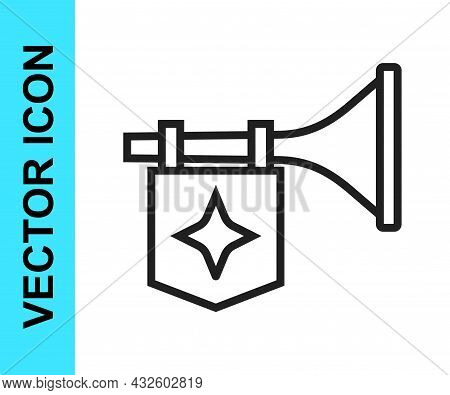 Black Line Trumpet With Flag Icon Isolated On White Background. Musical Instrument Trumpet. Vector