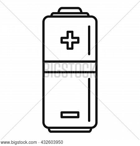 Half Battery Icon Outline Vector. Charge Level. Power Cell
