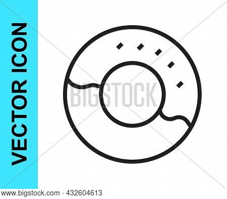 Black Line Donut With Sweet Glaze Icon Isolated On White Background. Vector
