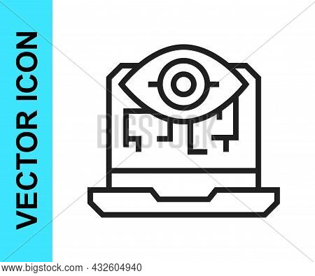Black Line Computer Vision Icon Isolated On White Background. Technical Vision, Eye Circuit, Video S