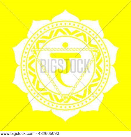 Line Drawing.the Third Chakra Of Manipur. Solar Plexus Chakra With Hindu Sanskrit. Yellow Is A Flat