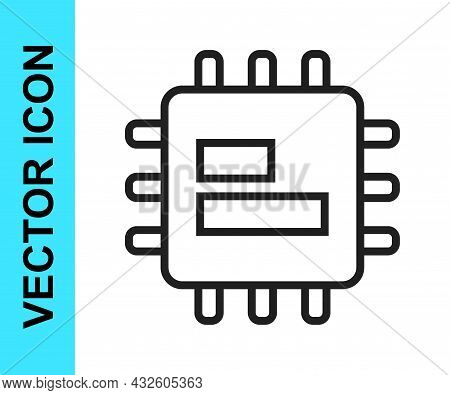 Black Line Computer Processor With Microcircuits Cpu Icon Isolated On White Background. Chip Or Cpu