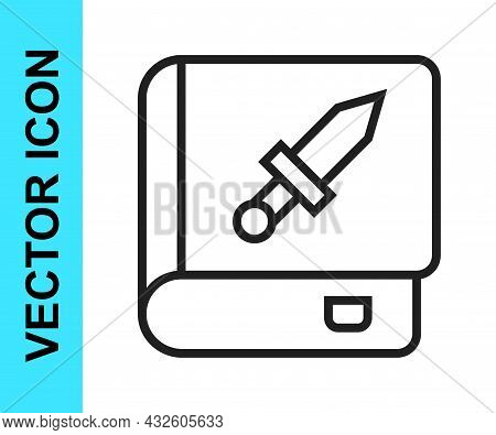 Black Line Book About Weapon Icon Isolated On White Background. Small Firearm. Weapon Catalog. Vecto