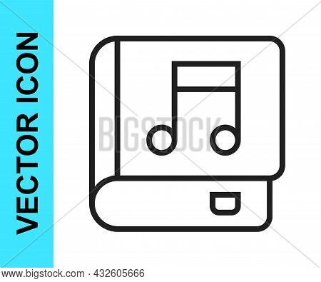 Black Line Audio Book Icon Isolated On White Background. Musical Note With Book. Audio Guide Sign. O