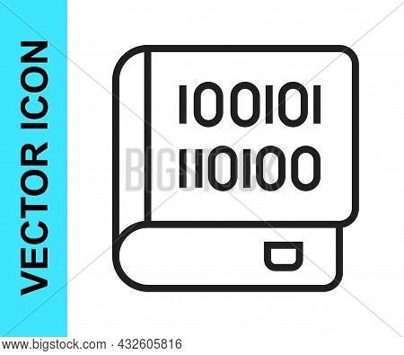 Black Line Books About Programming Icon Isolated On White Background. Programming Language Concept.