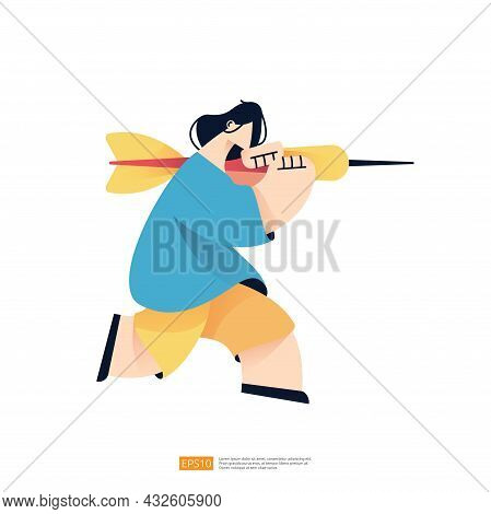 People Character Carry Arrow Dart For Business Marketing Goal Achievement Target And Vision Mission
