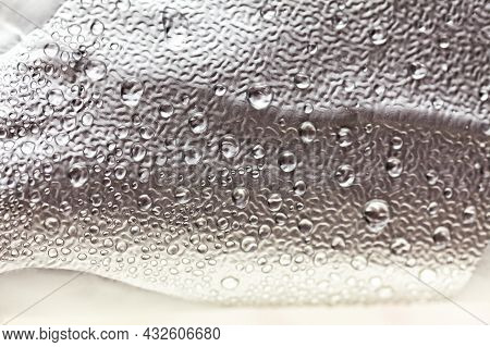 Water Drops On The Foil . Aluminium Foil With Water Condensation