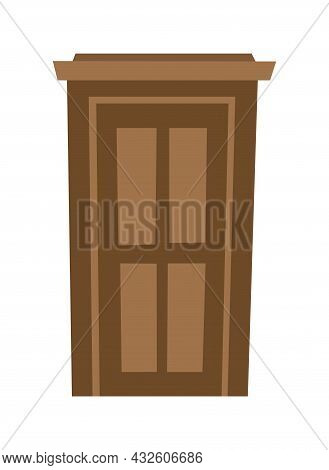 Door Is Closed. Doorway Of House Or Apartment. Brown. Entrance Is Outside. Cheerful Cartoon Style. I